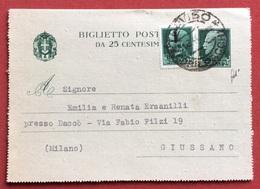 BIGLIETTO POSTALE 25c. CON GEMELLO REPUBBLICA SOCIALE ITALIANA DA TREVISO A GIUSSANO IN DATA 30/3/44 - Storia Postale