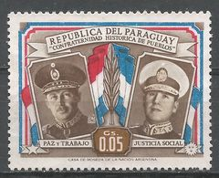 Paraguay 1955. Scott #486 (M) Presidents Alfredo Stroesssner And Juan D. Peron - Paraguay