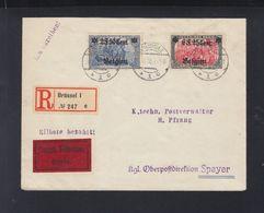 Dt. Reich Besetzung Belgien Expres Brief 1918 Brüssel Nach Speyer - Besetzungen 1914-18