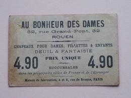 AU BONHEUR Des DAMES Rue Grand Pont 32 ROUEN - Chapeaux Pour Dames ( Voir Photo ) ! - Publicités