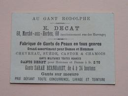 Au Gant RODOLPHE - E. DECAT Marché -aux-Herbes 68 ( Anc. Rue Des Harengs ) ( Voir Photo ) ! - Publicidad