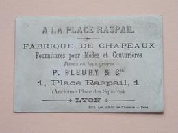 A LA PLACE RASPAIL Fabrique De CHAPEAUX - P. Fleury & Cie Place Raspail 1 - LYON ( En Repos ) ( Voir Photo ) ! - Publicités