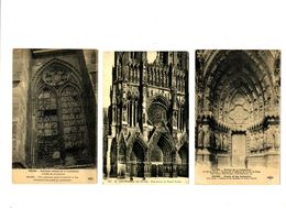 CPA 51 Marne Reims La Cathédrale Lot De 3 Cartes - Reims
