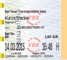 BRD Berlin 2015 Fahrschein Kurzstrecke BVG Berliner Verkehrsbetriebe - U-Bahn