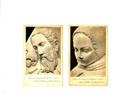 CPA 89 Yonne Abbaye De Sainte-Marie De La Pierre Qui Vire Statues Lot De 2 Cartes - Autres Communes