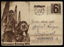 3. Reich - GS Postkarte 1. Mai 1934 : Gebraucht Mit Werbestempel Hamburg - Greifswald 1934 , Bedarfserhaltung. - Briefe U. Dokumente