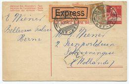 1755 - 10 Rp. Tell Ganzsachen-Postkarte Mit ZF Für Express Nach HOLLAND - Entiers Postaux