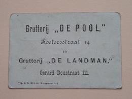 """Grutterij """" DE POOL """" Roetersstraat 14 & """" DE LANDMAN """" Gerard Doustr.111 ( Chromo / Prent - Zie Foto's Voor Detail ) ! - Publicités"""