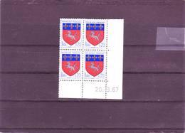 N° 1510 - 0,20F Blason De Saint LO - 3° Tirage/2° Partie Du 4.9 Au 26.9.67 - 20.09.1967 - - Dated Corners