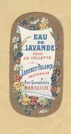 Etiquette Parfum Eau De Lavande Pour La Toilette Lorenzy-Palanca Parfumeur MARSEILLE Format : 3,4 Cm X 6,6 Cm Sup.Etat - Etiquettes