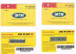 NIGERIA - MTN (GSM RECHARGE) - ALL IN ONE 1500 (LOT OF 2 WITH DIFFERENT BACK)    - USED  -  RIF. 2495 - Nigeria