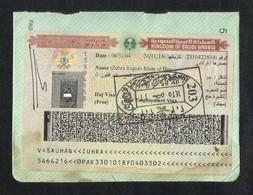 Saudi Arabia Sticker Revenue Stamps With Visas Label On Used Passport Visas Page - Saudi Arabia