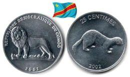 Congo - 25 Centimes 2002 (Mongoose - UNC) - Congo (Democratic Republic 1998)