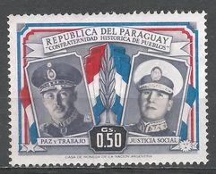 Paraguay 1955. Scott #488 (M) Presidents Alfredo Stroesssner And Juan D. Peron - Paraguay