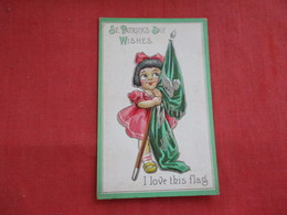 Embossed Young Girl With Flag Saint-Patrick's Day Ref 2806 - Saint-Patrick's Day