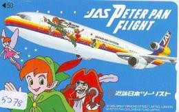 Télécarte *  DISNEY * Japon (110-011) PETER PAN FLIGHT  (5278) * JAPAN PHONECARD *  CINEMA FILM MOVIE KINO * AIRPLANE - Disney
