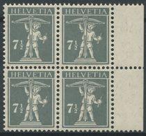 1758 - 7 1/2 Rp. Tellknabe Type III Im Postfrischen Viererblock - Ungebraucht