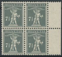 1758 - 7 1/2 Rp. Tellknabe Type III Im Postfrischen Viererblock - Suisse
