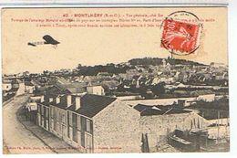 91..MONTLHERY    VUE GENERALE   PASSAGE AVION  AVIATEUR MORANE    TBE - Montlhery