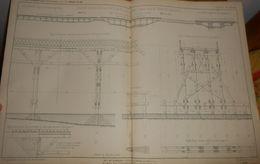 Plan D'une Grande Estacade Et Pont En Bois Sur La Marne. Chemin De Fer Du Camp De Chalons. 1858 - Public Works