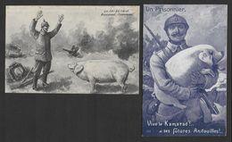 COCHONS - 2 Cartes Humoristiques Militaires - Cochons