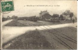 49  BRAIN Sur L'AUTHION  La Gare  Train  1915 - Gares - Avec Trains