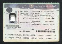 Saudi Arabia Visa Label Revenue On Used Passport Visas Page - Saudi Arabia