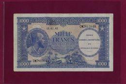 Congo Democratic Republic 1000 FRANCS 1962 P-2  VF++ - [ 5] Belgian Congo