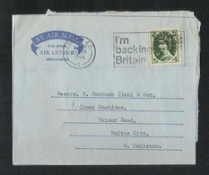 Great Britain England 1967 Air Mail Slogan Postmark Postal Used Aerogramme Cover London To Pakistan - Stamped Stationery, Airletters & Aerogrammes