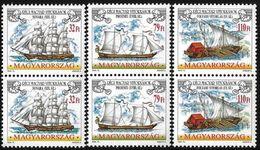 Hungary 1999 Scott 3636-38 MNH Pair Sailing Ships - Unused Stamps