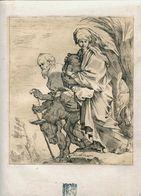 """Sébastien BOURDON ( 1616- 1671) - """" LA FUITE EN EGYPTE """" - Gravure Ancienne Signée ,  Du 17 éme - Engravings"""