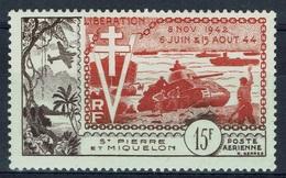 Saint Pierre And Miquelon, Airmail, Liberation, 10th Anniv., 1954, MH VF - Airmail