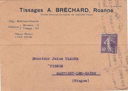 """Carte Commerciale 1928 / Tissages A. BRECHARD / 42 Roanne / Loire / Flamme """"Chèques Postaux Demandez L'ouverture ..."""" - Maps"""