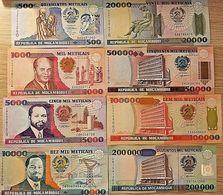 C) MOZAMBIQUE BANK NOTES 9 PC SET UNC DIFFERENT YEARS - Mozambique