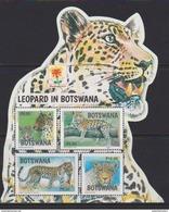 BOTSWANA, 2017, MNH, FELINES,  LEOPARDS, , BANDUNG EXHIBITION OVERPRINT, S/SHEET - Big Cats (cats Of Prey)