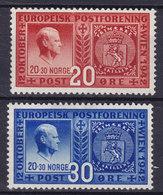 Norway 1942 Mi. 274-75  Gründung Des Europäischen Postvereins In Wien Vidkun Quisling Complete Set MH* - Ungebraucht