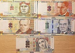 C) PERUVIAN BANK NOTES 5 PC SET SOLES UNC ND 2009 -2016 - Peru