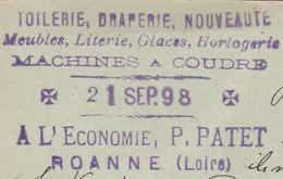 Carte Commerciale 1897 / Entier / Meubles Machines à Coudre / 42 ROANNE / Loire - Maps