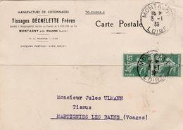 Carte Commerciale 1939 / Tissages DECHELETTE Frères / Cachet De Montagny / 42  Loire - Maps