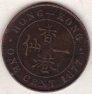 Hong Kong . 1 Cent 1877. Victoria. Bronze .  KM# 4.1 - Hongkong