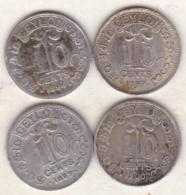 Ceylon 4 Coins 10 Cents 1894 , 1897 , 1899 , 1900 . Victoria. Argent.  KM# 94 - Sri Lanka