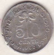 Ceylon . 50 Cents 1900. Victoria. Argent.  KM# 96 - Sri Lanka