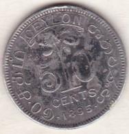 Ceylon . 50 Cents 1895. Victoria. Argent.  KM# 96 . - Sri Lanka