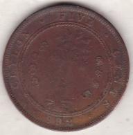 Ceylon . 5 Cents 1892. Victoria. Copper.  KM# 93 - Sri Lanka