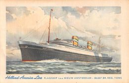 """07194 """"HOLLAND-AMERICA LINE - FLAGSHIP T.S.S. NIEUW AMSTERDAM - 36.667 BR. REG. TONS"""" CART. NON SPED - Banche"""