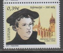 LITHUANIA, 2017, MNH,  REFORMATION, CHRISTIANITY, RELIGION, LUTHER, 1v - Christianity