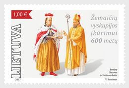 LITHUANIA, 2017, MNH,  JOINT ISSUE WITH THE VATICAN, CATHOLIC CHURCH, DIOCESE OF SAMOGITIANS, 1v - Emisiones Comunes