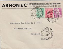 Enveloppe Commerciale 1949 / ARNON & Cie / Matériel Industrie Vêtement / Affranchissement 15 F - Maps