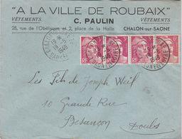 """Enveloppe Commerciale 1949 / C. PAULIN / Confection / """"A La Ville De Roubaix""""/ 71 Chalon Sur Saône - Maps"""
