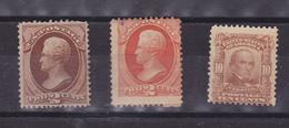 ETATS UNIS USA  3 TIMBRES No 58 MH*, 40 ET 151 (*)  COTE: 645 EUROS - Unused Stamps